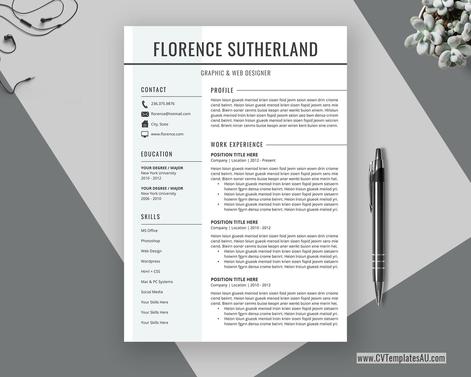 Professional Cv Template For Microsoft Word Cover Letter