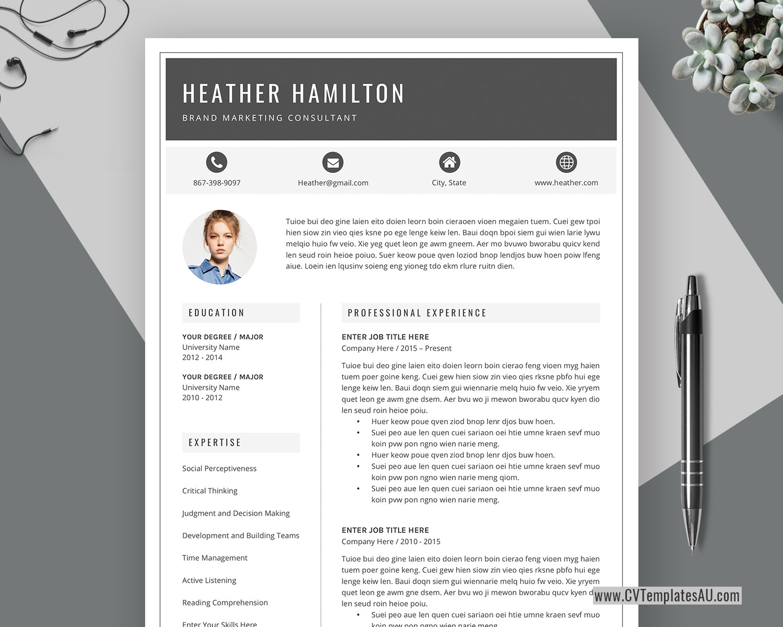 Modern Cv Template For Microsoft Word Cover Letter Professional Curriculum Vitae Editable Resume Modern Resume