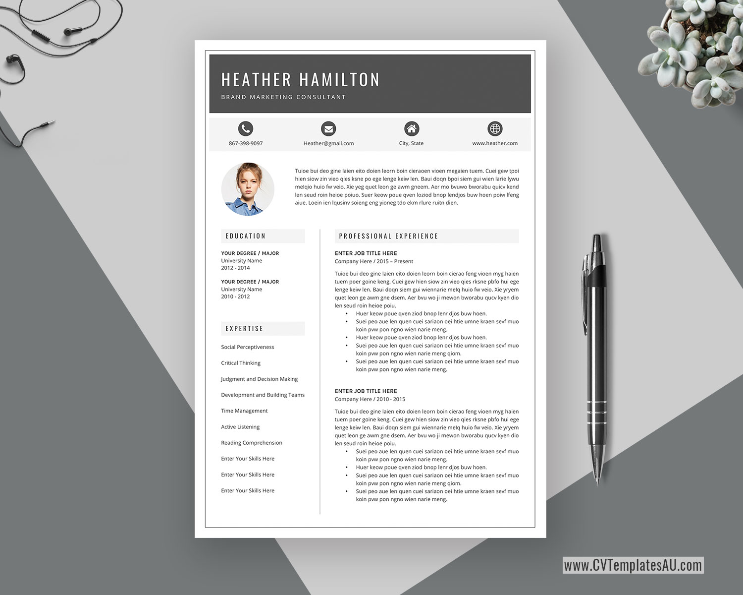 Modern Cv Template For Microsoft Word Cover Letter Professional Curriculum Vitae Editable Resume Modern Resume Simple Resume Teacher Resume Instant Download Cvtemplatesau Com