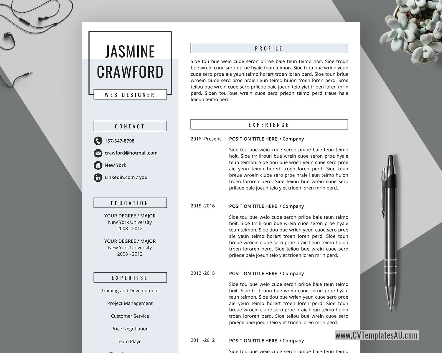Professional Cv Template For Microsoft Word Cover Letter Curriculum Vitae Template Modern Resume Creative Resume 1 3 Page Resume Editable Resume Instant Download Cvtemplatesau Com