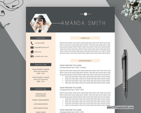 modern cv template for microsoft word  cover letter