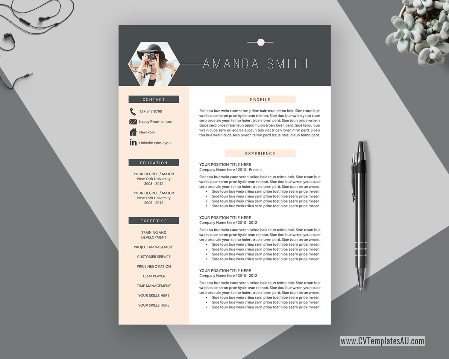 Modern Cv Template For Microsoft Word Cover Letter Professional