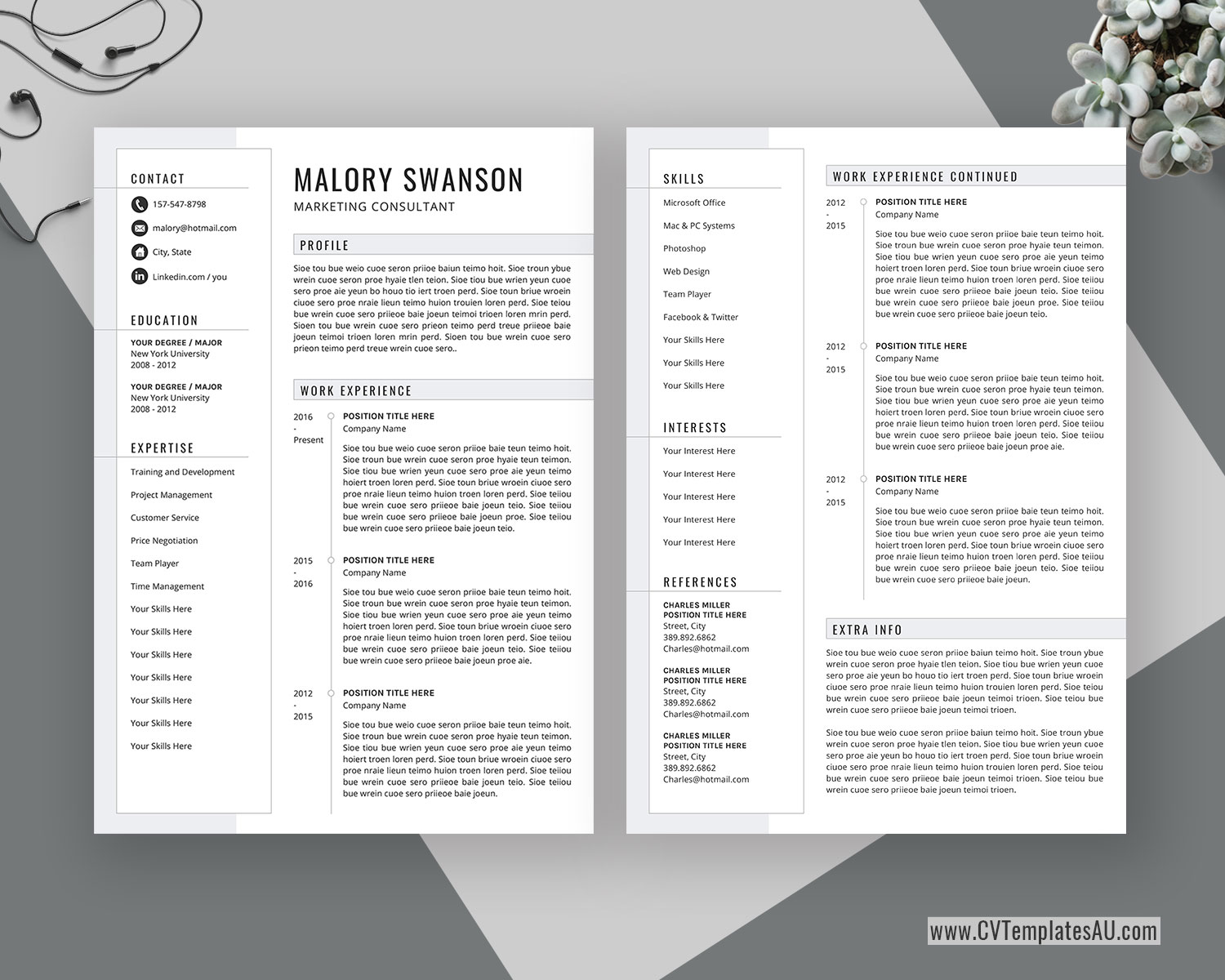 Editable Cv Template For Microsoft Word Cover Letter Curriculum