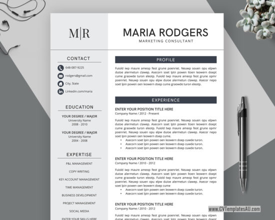 creative cv template for microsoft word  cover letter