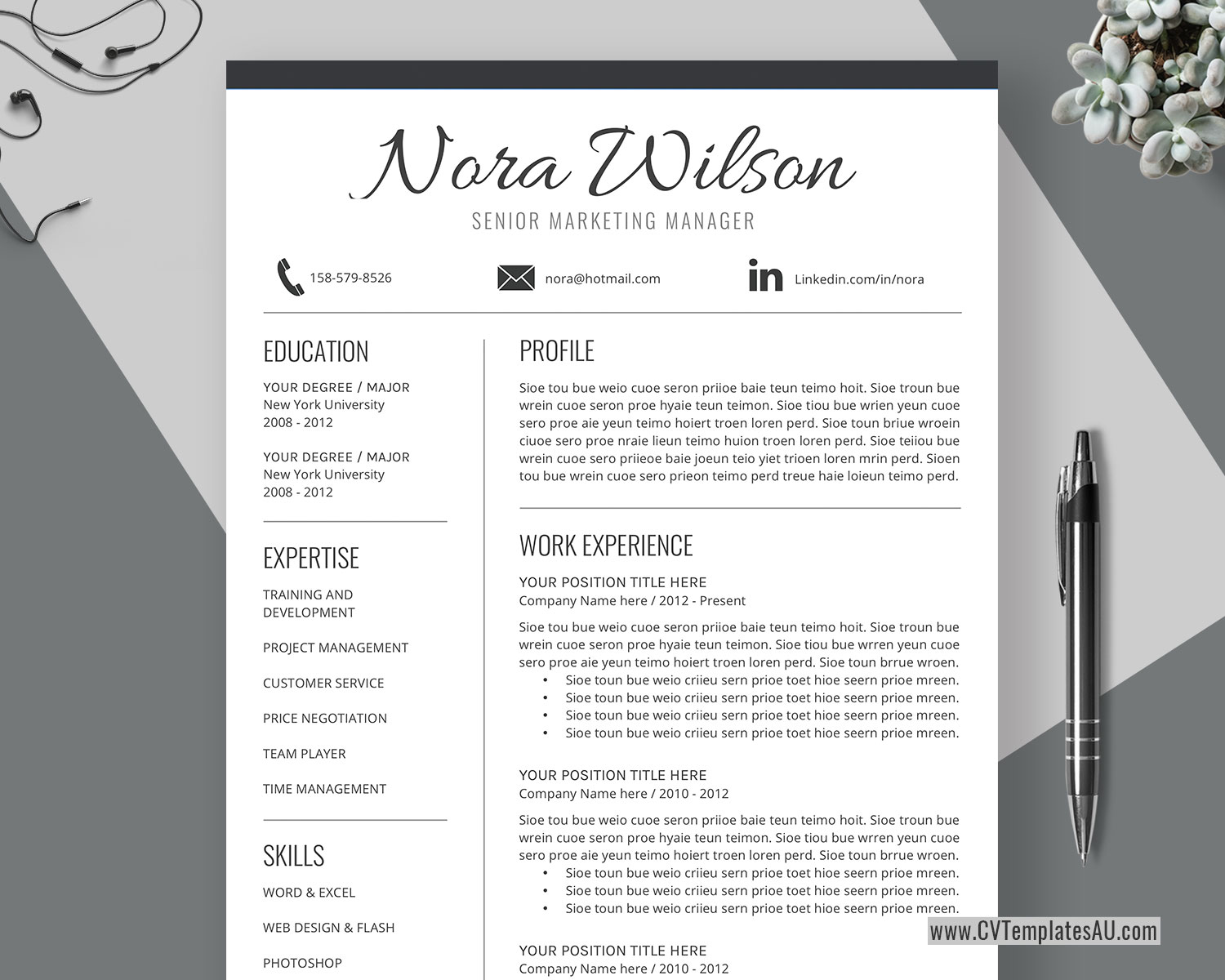 Simple CV Template for Microsoft Word, Cover Letter, Basic ...