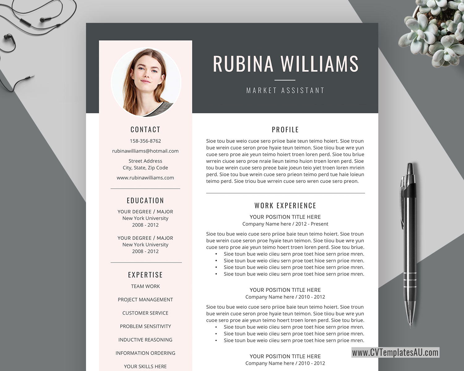 Creative Cv Template For Microsoft Word Cover Letter Curriculum Vitae Template Professional Resume Modern Resume 1 3 Page Resume Editable Resume Instant Download Cvtemplatesau Com