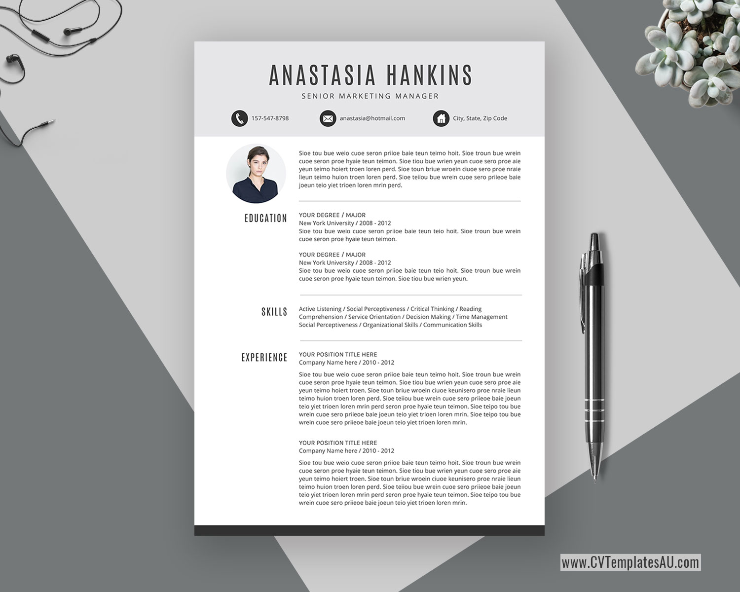 Simple Cv Template For Microsoft Word Cover Letter Clean Cv Format Professional Resume Modern Resume Editable Resume Student Resume 1 3 Page Instant Download Cvtemplatesau Com