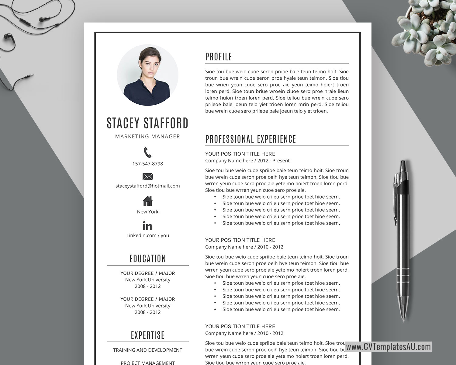 Professional Cv Template For Microsoft Word Cover Letter Modern