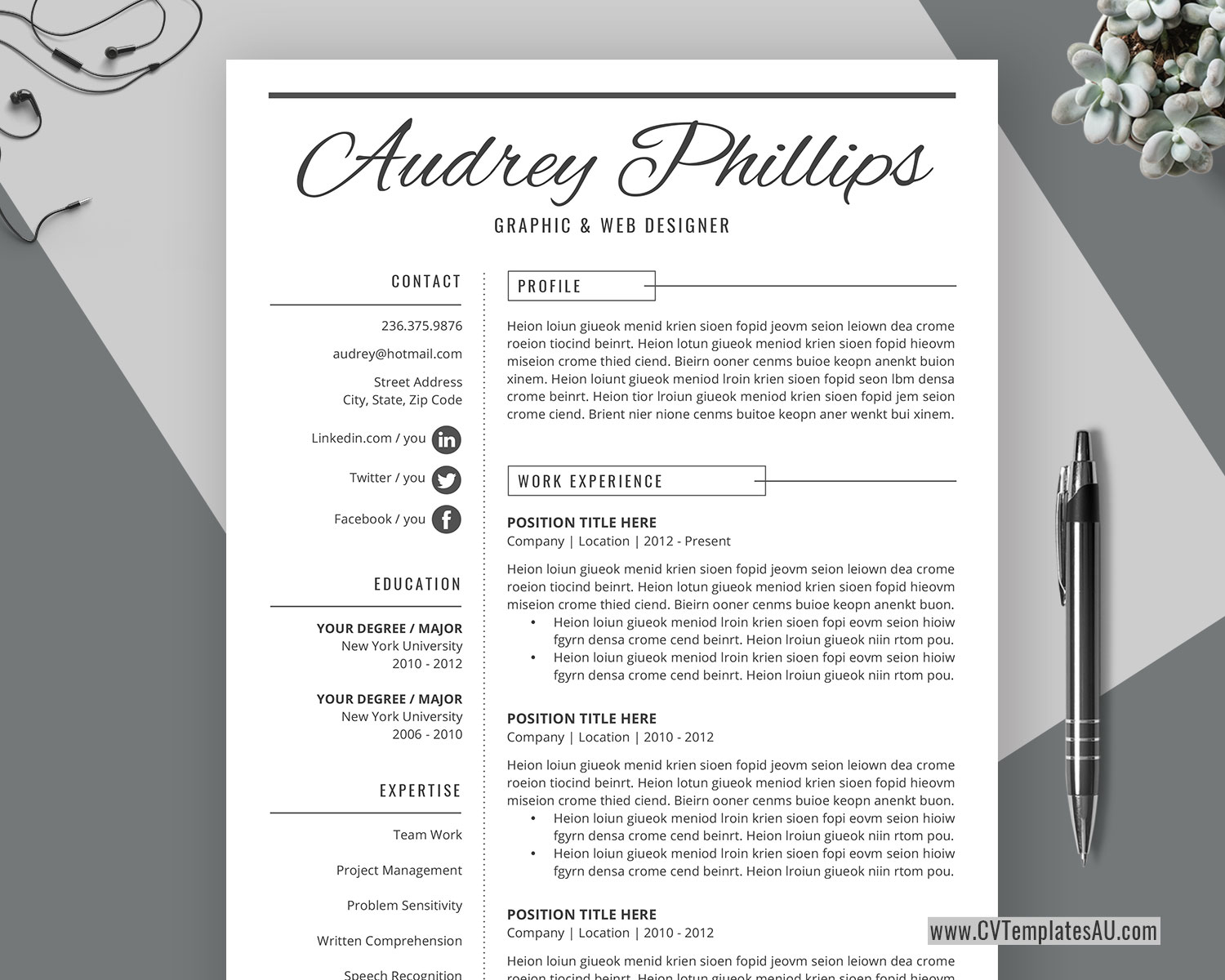 Simple CV Template for Microsoft Word, Cover Letter, Curriculum Vitae, Modern and Creative ...