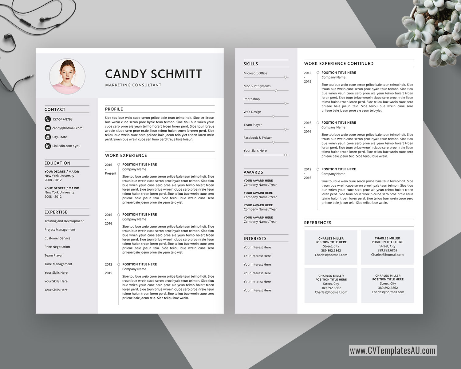 Modern Cv Template For Microsoft Word Cover Letter Curriculum