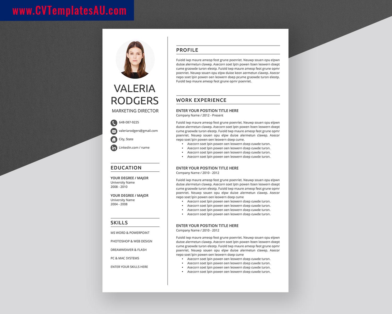 Modern Cv Templates Bundle Professional And Simple Resume Templates Design Curriculum Vitae Ms Word Cv Format 1 3 Page Cv Templates For Job Application Cvtemplatesau Com